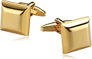 Epinki Mens Cufflinks Formal Business Wedding Shirts Stainless Steel Thick Square Face Smooth Gold