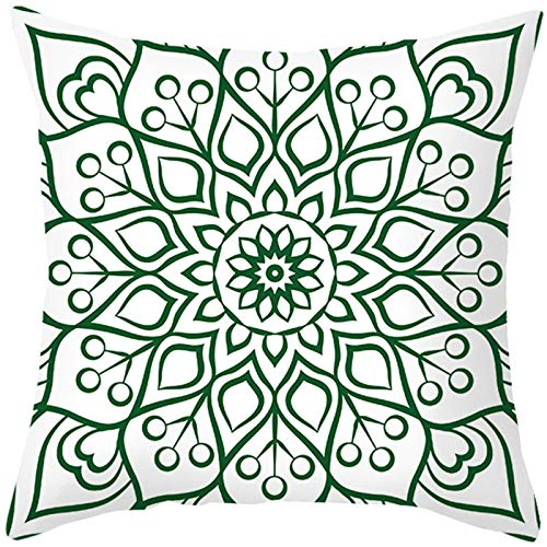 Bishilin Fundas De Almohadas Poliéster 16x16 Inch Fundas de Cojín Patrón de Flores Funda de cojín de Tiro para sofá sofá Oficina en casa Estilo 14 Blanco Verde (Solo Portada, sin Inserto)