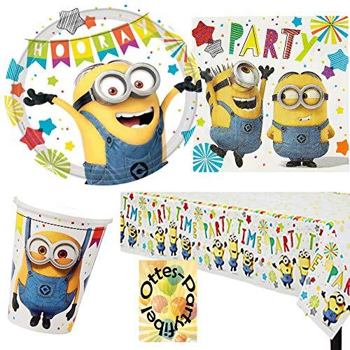 HHO Minions-Party-Set Partyset 49tlg. Teller Becher Servietten Tischdecke für 16 Kinder