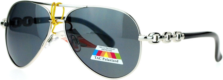 SA106 Anti Glare Polarized Lens Metal Chain Arm Aviator Sunglasses Silver