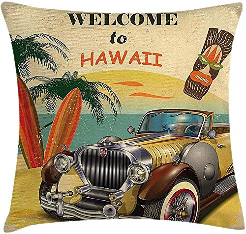 Dekokissenbezug Kissenbezug Vintage Kissen, Hawaii Retro American Pop Art mit gealterten Autopalmen Stammes-Maske und Surfbretter Kunstwerk, dekorative quadratische Akzent Fall, 18 x 18 Zoll, Multi