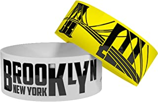 Geo Bands 2 Brooklyn NY Wristbands with Bonus Storage Cases • Silicone Rubber Wristbands/Baller Bands (1 inch Wide)