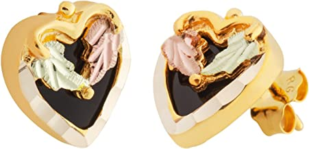 product image for Black Hills Gold Heart Onyx Earrings