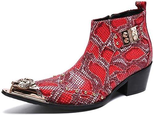 HMNS zapatos hombres botas de Vaquero Botines Tañon Cubaño botas de Cuero Tobillo botas Cremallera Clásico rojo Noche Partido Zapaños de Vestir de UNiñorme