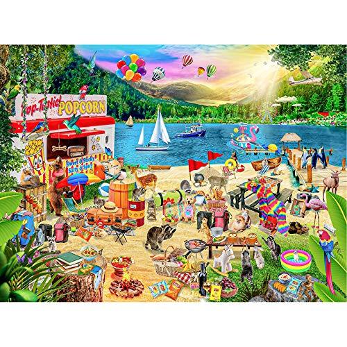 Cuteefun Puzzles para Adultos Puzzle 1000 Piezas Campamento de Verano Puzzle Paisaje para Niños Descompresión y Regalo