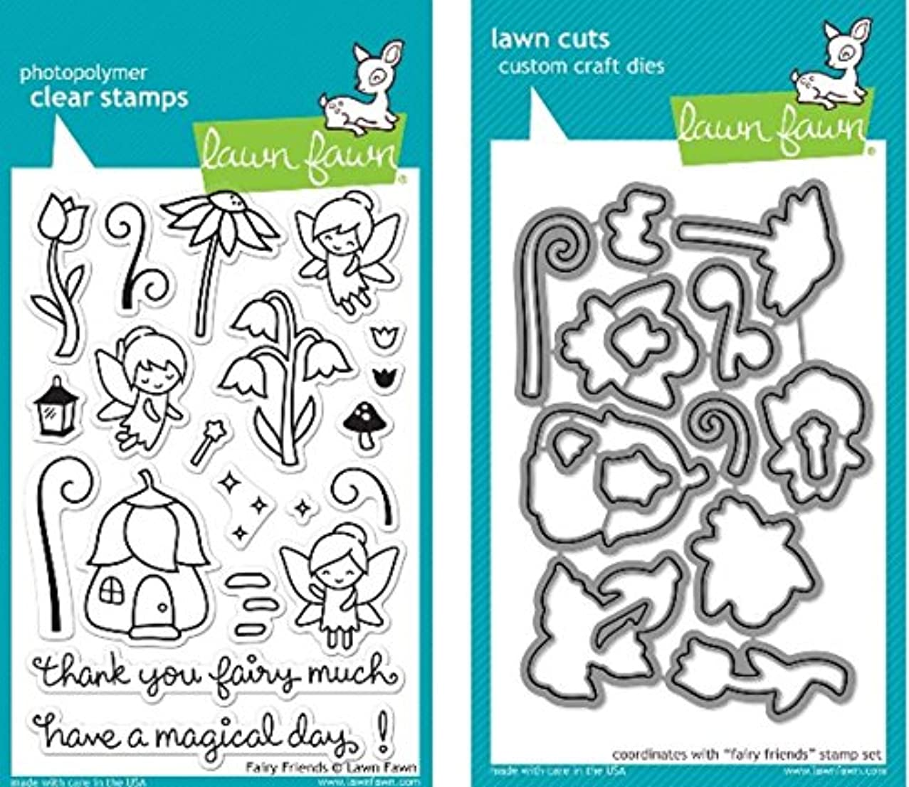 Lawn Fawn Fairy Friends Clear Stamp and Die Set - Includes One Each of LF1057 Stamp & LF1058 Die - Bundle Of 2