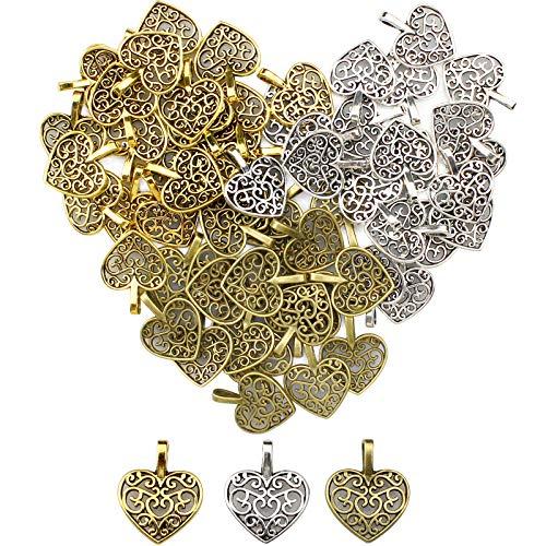 YapitHome 60 piezas de dijes de corazón antiguo de aleación para hacer joyas, dorado, plata, bronce