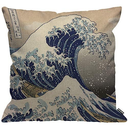 HGOD DESIGNS Cushion Cover Wave Japanese Hokusai The Great Wave of Kanagawa Throw Pillow Cover Home Decorative for Men/Women/Boys/Girls Living Room Bedroom Sofa Chair 18X18 Inch Pillowcase