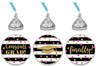 Andaz Press Fuchsia, Black and Gold Glittering Graduation Party Collection, Chocolate Drop Label Stickers Trio, 216-Pack, Fits Hershey's Kisses Party Favors