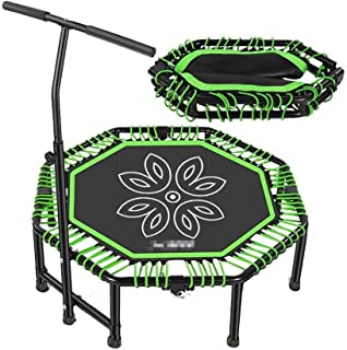 Foldable Mini Trampoline, Ultra Quiet Octagon With Adjustable Handle for Adult Kids Indoor Fitness Aerobic Exercise,48'' G...