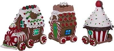 Kurt Adler 4.3-Inch Claydough 3D LED Gingerbread Train Set of 3-Pieces