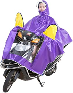 HYBAUDP Raincoat Poncho Set Electric Motorcycle Raincoat Adult Double Hat PonchoMen and Women Single Helmet Rain Suit Double Sided Cover Increase Raincoat,XXXXL (Color : Purple)