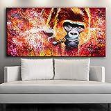 ganlanshu Calle Graffiti Arte Abstracto Lienzo orangután Fumar Cartel Graffiti Arte de la Pared decoración del hogar,Pintura sin Marco,60x120cm