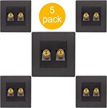 Audio Wall Socket Speaker Junction Box Audio Cable Connector Terminal Block Terminal Banana Head Seat Copper Gold Plated Home Matte Black (2 Connectors, 5 Pack)