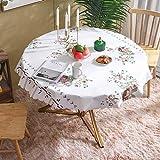 LIUJIU Mantel de poliéster apto para mesa de comedor, muy adecuado para banquetes, diámetro de 130 cm
