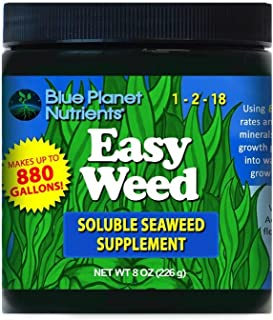 Easy Weed Soluble Seaweed Kelp (8 oz) Blue Planet Nutrients   for All Plants & Gardens   Hydroponic Coco Coir Soil Aero Gardens Soil-Less   Powdered Kelp Fertilizer Supplement