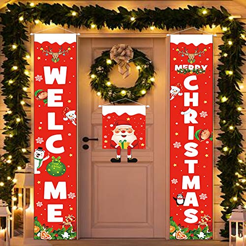 Christmas Porch Decoration Banner 3 Pieces - Welcome Merry Christmas Decor Outdoor Banners That Feature Santa Claus, Xmas Door Decoration for Home Front Wall Living Room Party