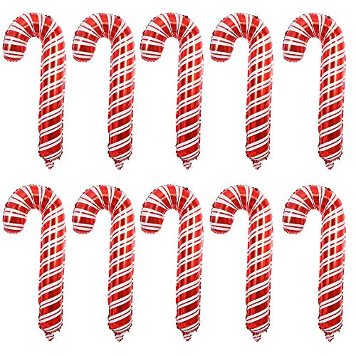 Nuluxi Caramelo de Navidad Decoración de Globo Navidad Globo de Pancartas Decoración Set Navidad Globo Papel de Aluminio Decoración Navideña Utilizar para el Hogar en Interiores y Exteriores-10 Piezas