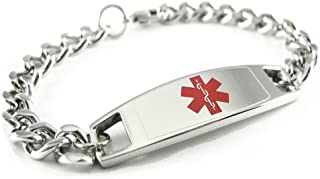 My Identity Doctor - Custom Engraved Medical Alert Bracelet for Kids and Adults - 316L Steel - Small - Red - Wrist Size 5.5 Inch