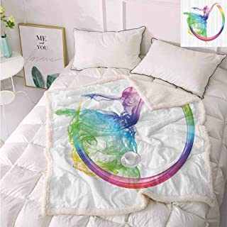 Abstract Home Decor Collection Fluffy Blanket Smoke Dance Shape Silhouette of Dancer Ballerina Rainbow Colors Fantasy Image Throws and Blankets for Sofa Blue Yellow 60