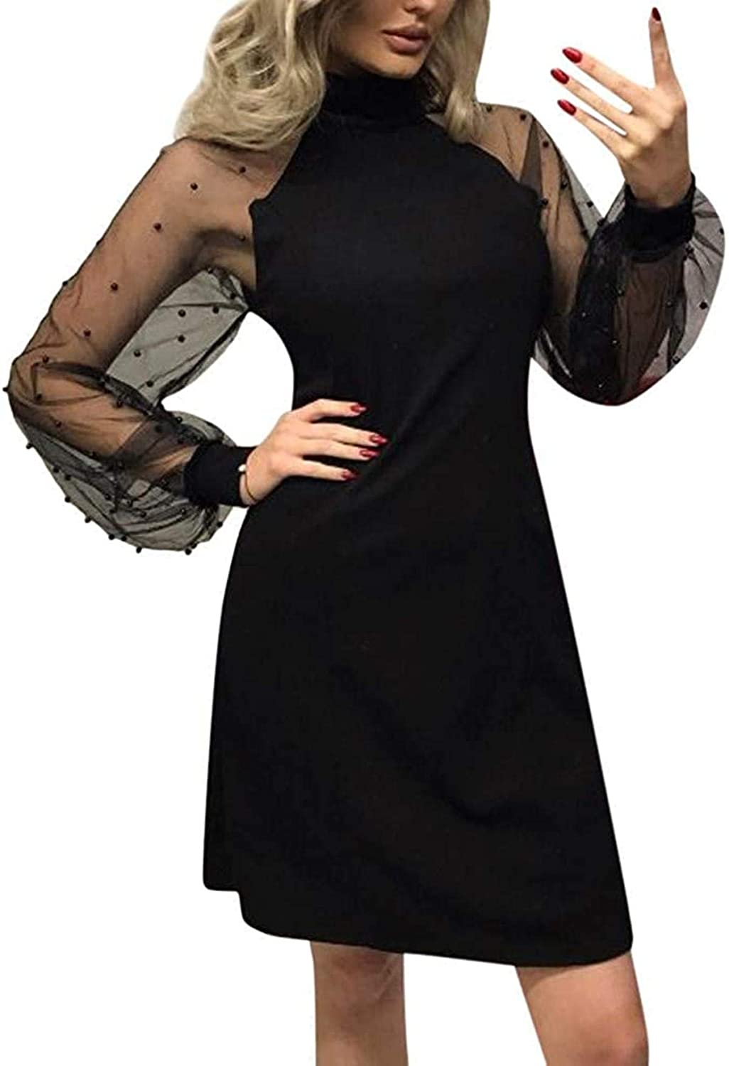 MENHG Women's Sexy Mini Dresses Solid Color Mesh Long Sleeve Pitchwork Slim Dress Ladies Fashion Empire Evening Party Dress