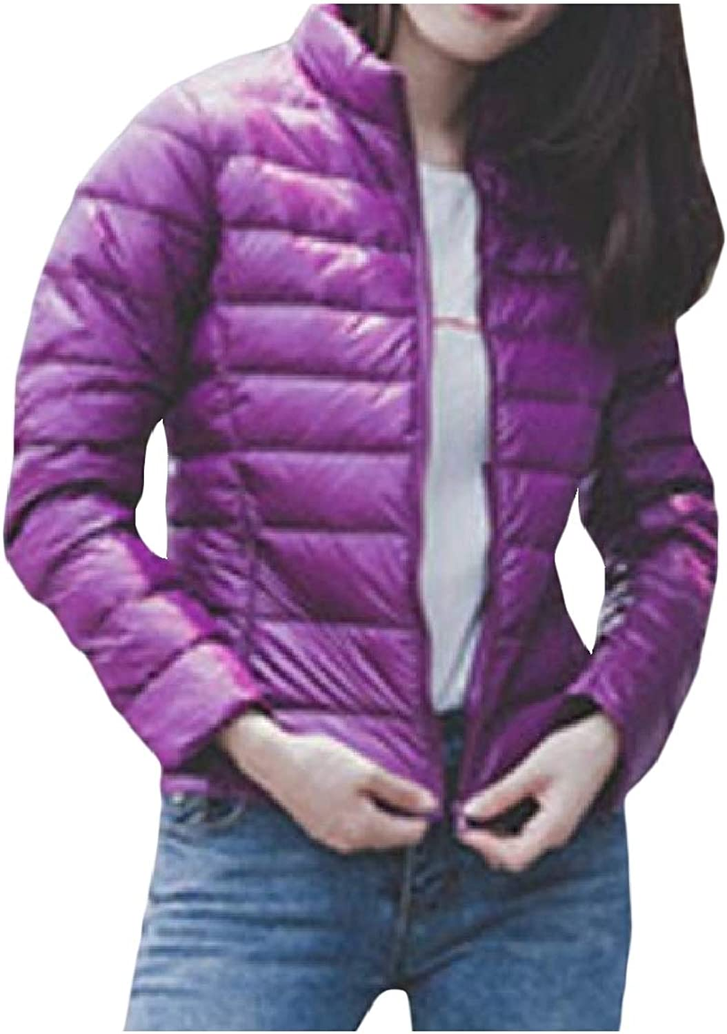 color&W Womens UltraLight FullZip Padded Stand up Collar Packable Down Outerwear Coat
