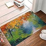 LKTBJEMFY Alfombra de baño con pintura de hojas otoñales, de...