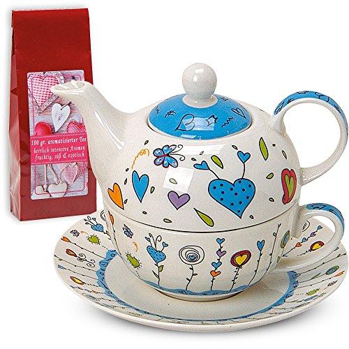 Teekannen-Set Tea For One Teekanne mit Tasse und Untersetzer Blumen / Herzen blau 17x13 cm im Geschenkkarton