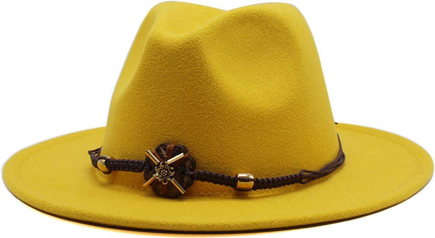 BAJIE Fedora Women'S Men'S Wide Brim Wool Felt Jazz Fedora Hat Style Denim Party Formal Dress Hat Large Yellow White 19Color