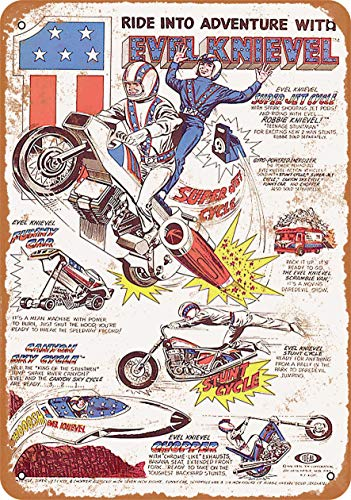 McC538arthy Tin Signs Metal Sign 1977 Evel Knievel Toys Holiday Vintage Poster Metal Plaques for Funny Wall Decoration Art Sign Gifts for Christmas - 7x10