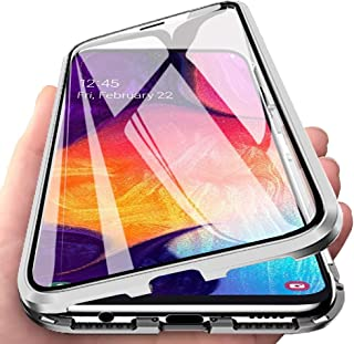 EabHulie Galaxy A50 Case, 360 Full Body Transparent Tempered Glass with Magnetic Adsorption Metal Bumper Case Cover for Samsung Galaxy A50 Silver