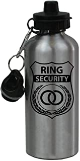 CustomGiftsNow Ring Security - Wedding Ring Bearer 20-Ounce 600ML Silver Aluminum Sport Water Bottle,  2 Lids
