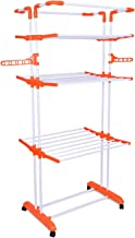 Magna Homewares Heavy Duty Steel 4 Layers 4 Poles Super Grandis Cloth Drying Stand with Wheels and Cloth Hanger Holders-Orange