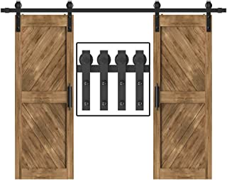 WINSOON 5-18FT Sliding Barn Wood Door Hardware Cabinet Closet Kit Antique Style for Double Doors Black Surface (9FT /108