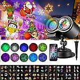 LED Projektionslampe,Weihnachten Projektor mit 20 Motiven, LED Lichteffekt Lampe r mit Fernbedienung...