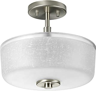 Progress Lighting P2851-09 2-Light Semi-Flush with White Linen Finished Glass and A Clear Edge Accent Strip, Brushed Nickel