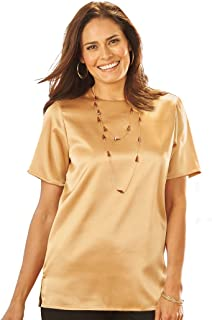 Satin Shell Classic Blouse Top for Women Short Sleeves Hip Length