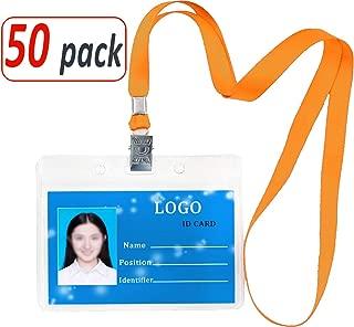 Aobear 50 pcs Upgrade Top Quality Waterproof Transparent Horizontal Name Tag id Badges and 50 pcs lanyards (Orange)