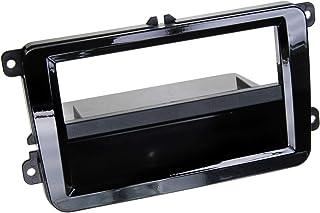 Dubbel 2 DIN radioframe met vak geschikt voor pianolak - zwart