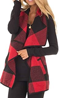 KIRJAUDU Womens Lapel Open Front Sleeveless Plaid Vest Cardigan with Pockets S-XXL
