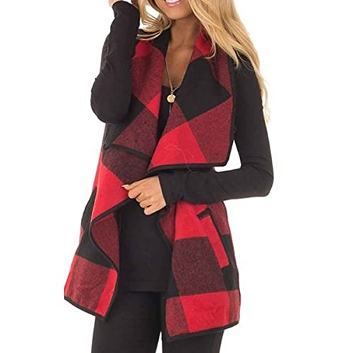 a549578fc08752 HELIDA Womens Lapel Open Front Sleeveless Plaid Vest Cardigan with Pockets  S-2XL