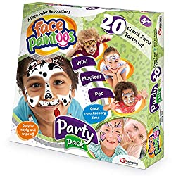 With Face Paintoos, it is simple to achieve great results every time. No artistic skills required! Face Paintoos don't smudge, they are quick and easy to apply and remove. Face Paintoos Party Pack comes with 20 tattoos, including wild animals, magica...