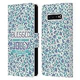 Head Case Designs Accesorios Navidad Bendita Carcasa de Cuero Tipo Libro Compatible con Samsung Galaxy S10