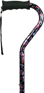 Carex Ergo Offset Cane with Soft Cushioned Handle - Adjustable Walking Cane for Women - Black Cane with Floral Pattern and Flowers