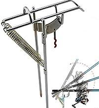 OhhGo Soporte de caña de pescar con resorte, material de metal de seguridad y ahorro de mano de obra automática, gancho de...