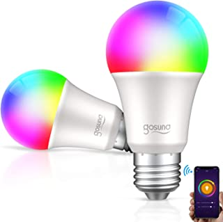 Smart WiFi LED Light Bulb A19 2700K 800Lm Gosund, Multi-color, Dimmable, No Hub Required, APP Remote Control Home Night lamp, Work with Alexa & Google Assistant (2 Pack)