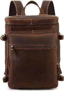 Leathario Mochila Tipo Caual Escolar Hombre Cuero Autentico Vintaje Retro de Mano Backpack Laptop para Portátiles y Netbooks