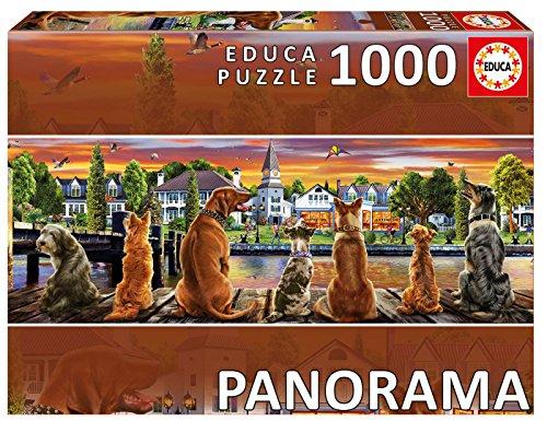 Educa Borrás- Puzzle 1000 Perros en el embarcadero, Panorama, Multicolor, Piezas (17689)
