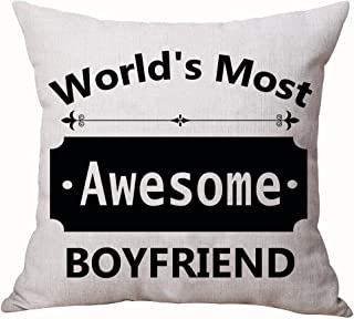 Best Gifts For Lover Sweet Sayings World's Most Awesome Boyfriend Sweetheart Valentine's Day Courtship Cotton Linen Decorative Throw Pillow Case Cushion Cover Square 18
