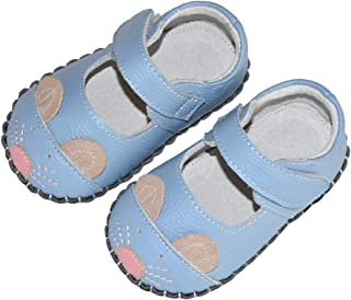 SandQ baby Girls Sky Blue Mouse Soft Sole Leather Shoe